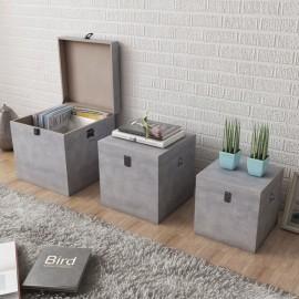 Cajas de almacenaje apariencia hormigón 3 unidades gris MDF