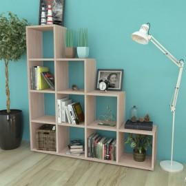Estantería librería en forma de escalera 142 cm color roble