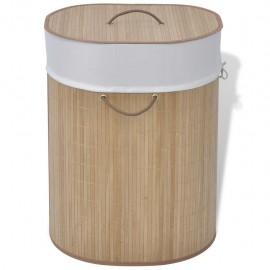 Cesto de la ropa sucia de bambú ovalado color natural