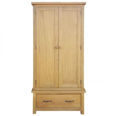 Armario con 1 cajón de madera maciza de roble 90x52x183 cm