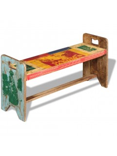Banco cola madera maciza reciclada 100x30x50 cm