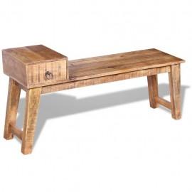 Banco con cajón madera de mango maciza 120x36x60 cm