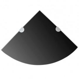 Estante de esquina con soportes cromados vidrio negro 25x25 cm