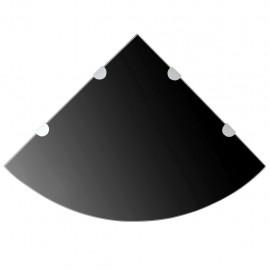 Estante de esquina con soportes cromados vidrio negro 45x45 cm