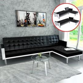 Sofá cama en forma de L cuero sintético negro