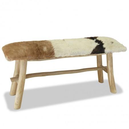 Banco de madera de teca con cuero auténtico
