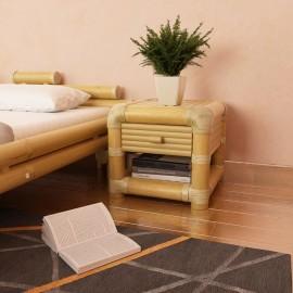 Mesita de noche de bambú natural 45x45x40 cm