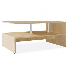 Mesa de centro de madera aglomerada 90x59x42cm color roble
