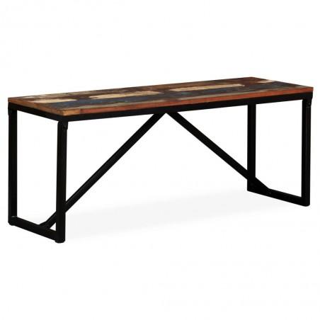 Banco de madera maciza reciclada 110x35x45 cm
