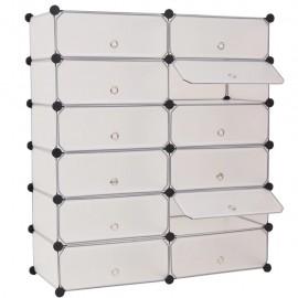 Zapatero apilable con 12 compartimentos blanco