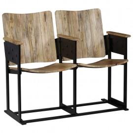 Banco de 2 plazas madera maciza de mango y acero 102x55x83 cm