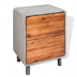 Mesita de noche de hormigón y madera maciza acacia 40x30x50 cm