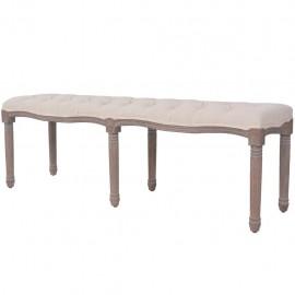 Banco de madera maciza y lino blanco crema 150x40x48 cm