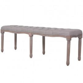 Banco de madera maciza y lino gris claro 150x40x48 cm