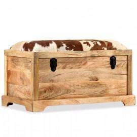 Banco de almacenamiento madera maciza y cuero real 80x44x44 cm