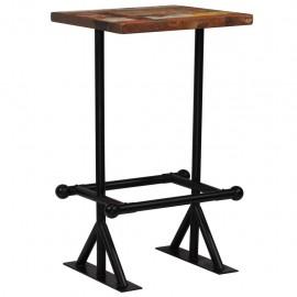 Mesa de bar de madera maciza reciclada multicolor 60x60x107 cm