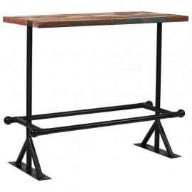 Mesa de bar de madera maciza reciclada multicolor 150x60x107 cm