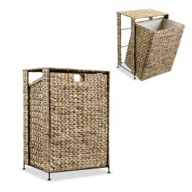 Cesto para la ropa sucia de jacinto de agua 44x34x64 cm