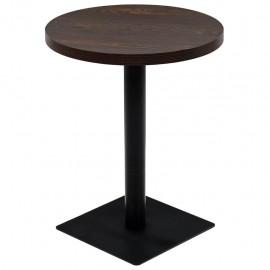 Mesa de bar bistró MDF y acero redonda fresno oscuro 60x75 cm