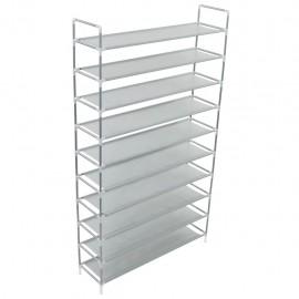Zapatero con 10 estantes de metal y textil no tejido plateado