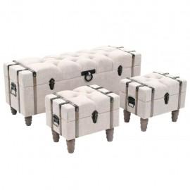 Bancos de almacenamiento 3 piezas madera y acero 112x37x45 cm