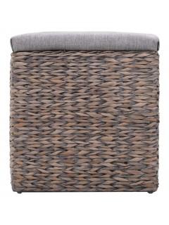 Banco con 3 cestas hierba marina 105x40x42 cm gris