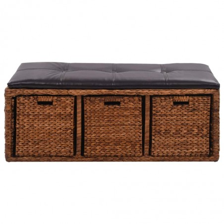 Banco con 3 cestas hierba marina 105x40x42 cm marrón