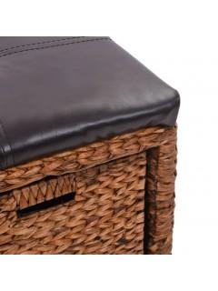 Banco con 2 cestas hierba marina 71x40x42 cm marrón