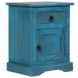 Mesita de noche de madera maciza de mango azul 40x30x50 cm