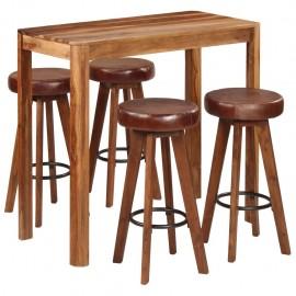 Conjunto de bar 5 pzas madera maciza de sheesham 115x56x107 cm