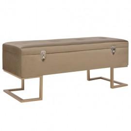 Banco con compartimento 105 cm beige de terciopelo