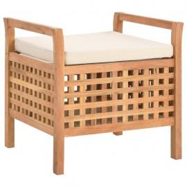 Banco de almacenamiento de madera maciza de nogal 49x48x49 cm