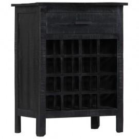 Botellero de madera de mango maciza negro 56x35x75 cm