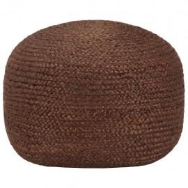 Puf tejido a mano marrón 40x45 cm yute
