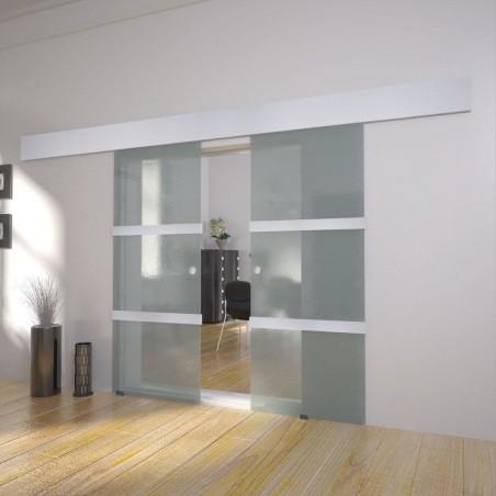 Puerta corredera doble de vidrio