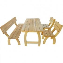 Mesa y banco jardín 4 piezas de madera de pino impregnada FSC