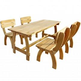 Juego de comedor de jardín 5 piezas madera de pino impregnada