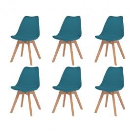 Sillas de comedor 6 unidades cuero artificial turquesa y madera