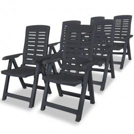 Sillas de jardín reclinables 6 unidades plástico gris antracita
