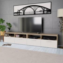 Mueble de salón para la TV aglomerado 2 piezas roble y blanco