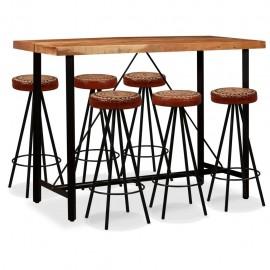 Mesa y 6 taburetes bar madera maciza sheesham cuero real y lona