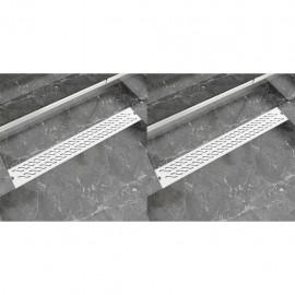 Desagüe lineal ducha 2 uds curvas 830x140 mm acero inoxidable