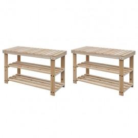 Banco zapatero 2 unidades 2 en 1 madera maciza