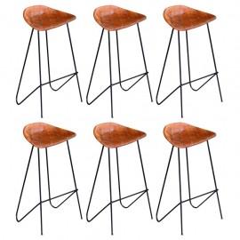 Sillas altas de bar 6 unidades cuero auténtico marrón