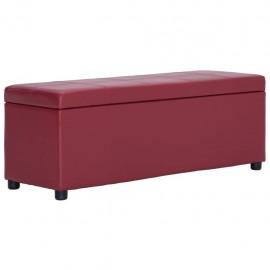 Banco con espacio de almacenaje 116 cm piel sintética rojo vino