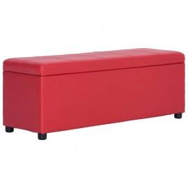 Banco con espacio de almacenaje 116 cm cuero sintético rojo
