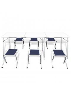 Mesa de camping plegable ajustable con 6 taburetes 180x60 cm