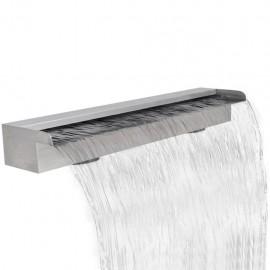 Fuente rectangular de acero inoxidable para piscina, 90 cm
