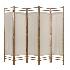 Biombo plegable con 5 paneles 200 cm bambú lona