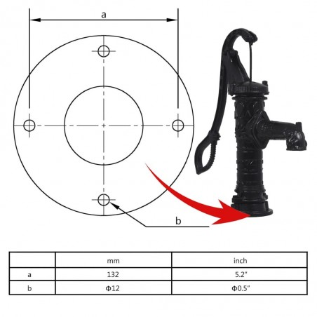 Bomba de agua de jardín manual de hierro fundido